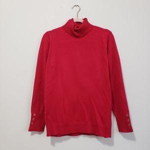 Joseph A red turtleneck sweater lightweight L
